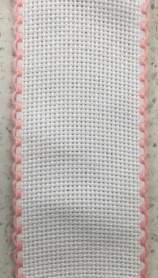 Zweigart Aida Band 5cm Wide 14 Count White with Pink trim - Cut To Size