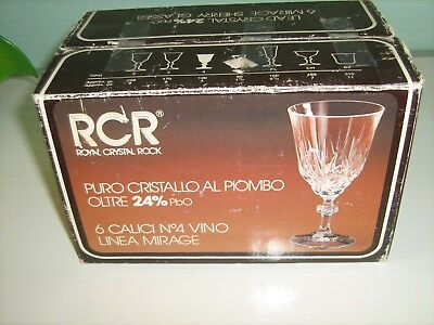 RCR MADE IN ITALY LEAD CRYSTAL 24%pbo 6 MIRAGE SHERRY GLASSES