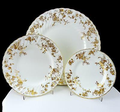 Minton England 3 Pc Ancestral Gold Floral Dinner, Salad & Bread & Butter Plates