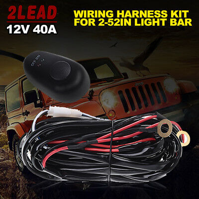Wiring Harness Switch Relay Kit for Connect 2 LED Light Work Driving Light Bar