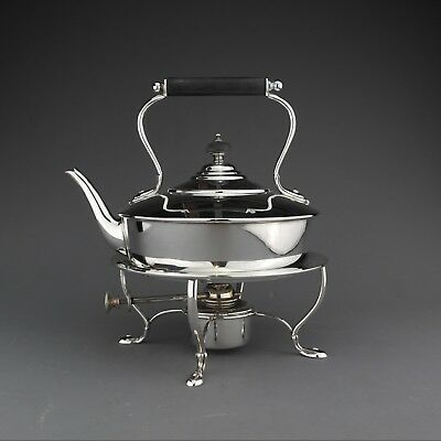 Ornate Antique Solid Sterling Silver Tea Kettle & Stand, London, 1913 - 940 g.