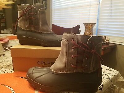 b03d13ac535a Womens Sperry Saltwater Wedge Spray Grey 8M New Leather Rain Duck Boots
