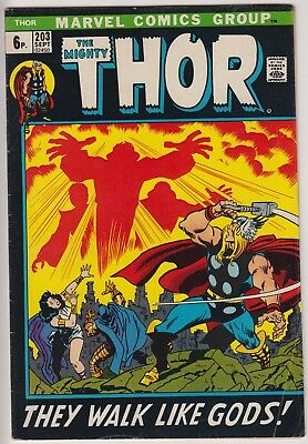 "Thor 203 - 1st Young Gods.  ""They Walk Like Gods!"" . Bronze age pence issue"
