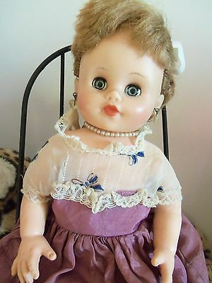 """Vintage Eegee 12"""" Girl Doll in Dress and Jewelry, Ponytail  60's Stuffed Vinyl"""