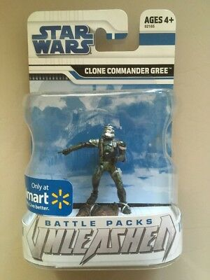Rare Walmart Exclusive!! Star Wars Battle Packs Unleashed Clone Commander Gree