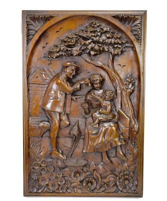French Antique Country Scene Hand Carved Wood Wall Panel Art