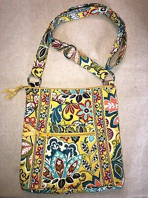 e3abcb3033e7 Vera Bradley cotton Crossbody Shoulder Bag NEW Bright Yellow Floral Pattern