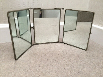 Antique French Tri Fold Folding Travel Mirror Barbers Vanity