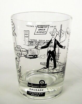 Vintage 1950s Milwaukee Wisconsin Advertising Glass Uncle August Sausage Company