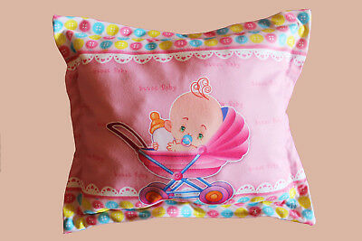 1pcs. Baby 100% cotton square 30-30cm Sweet colorfull pillow with sylicon fur