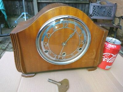 Art Deco Mahogany Cased Westminster Chime Mantle Clock In Full Working Order