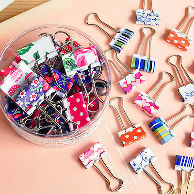 24Pcs/lot Cute Colorful Metal Binder Clips File Paper Clip Office Supplies 19MM