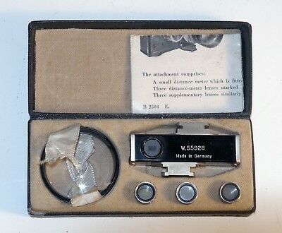 Vintage Zeiss Contameter 1343 w/ 2 Macro Lenses + Eyepiece for Contax I/II, case