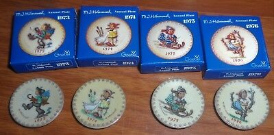 "1"" Hummel Miniature Annual Plates 1973  - 1976 Lot of  4  NIB Goebel Mini"