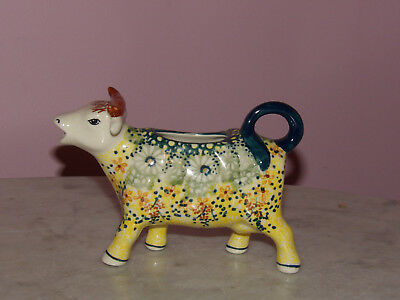 Polish Pottery Cow Creamer! UNIKAT Signature Exclusive Miss Daisy Pattern!