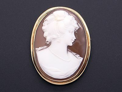 14k Yellow Gold Carved Shell Cameo Woman Portrait Brooch Pin Pendant
