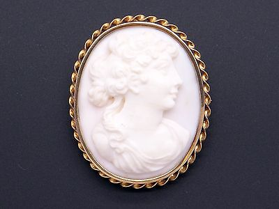14k Yellow Gold Carved Coral Cameo Woman Portrait Brooch Pin Pendant