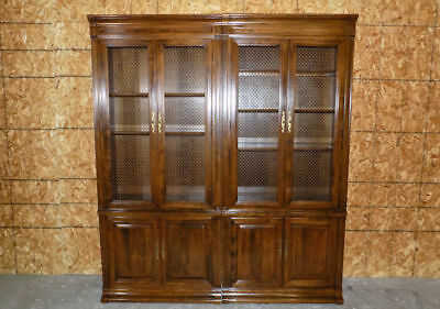 Pair of Ethan Allen Classic Manor library book shelves, bookcase or cabinets