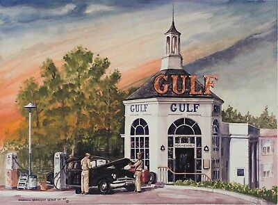 Carroll Kehne Jr's lithographic print of a 1940's Gulf Service Station