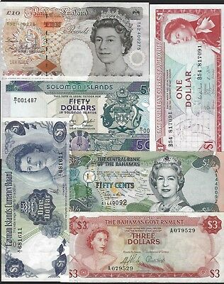 England Cayman Bahamas Solomon Lot of 6 Notes, VF to UNC, QEII Dollars Pounds