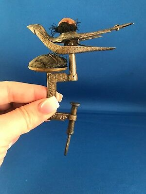 Antique Sewing Bird / Two Pin Cushions Pat 1853 Silver On Brass All Original
