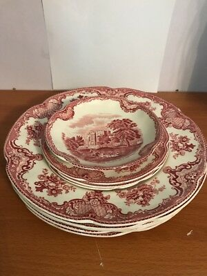 Johnson Brothers Old Britain Castles Pink Plates And Saucer