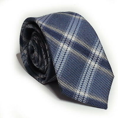 "DKNY Men's Blue Wool Silk Blend Slim Tie Plaid Pattern 2.5"" wide 57"" long"