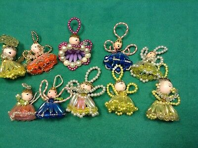Lot 10 Vintage Pearl Gold Tone Wood Face Wire Beaded Angel Christmas Ornaments
