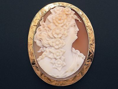 10k Yellow Gold Carved Shell Cameo Woman Portrait Flower Brooch Pin Pendant