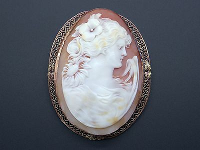 Large 14k Yellow Gold Carved Shell Cameo Woman Portrait Brooch Pin Pendant