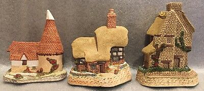 "David Winter Cottages Lot ""Sextons"" ""Blossom Cottage"" ""Single Oast"" British Trad"