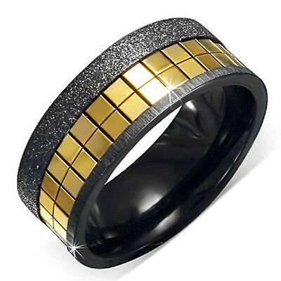8mm Black Stainless Steel Sandblasted Comfort Fit Half Round Band Ring Size 8