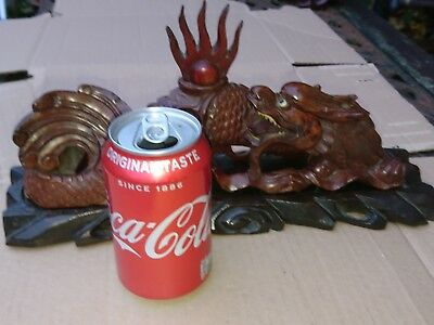 Antique Oriental Hardwood Hand Carved Dragon With Glass Eyes - Signed ??