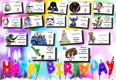 21 or 16 personalised birthday gift labels stickers tags present