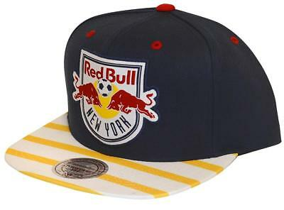 b7cbef99f92 NEW MLS MITCHEL and Ness NY New York Red Bulls Blue Snapback Cap Hat ...