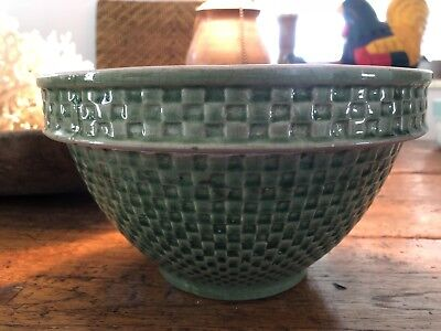 Vintage McCoy Green Checkerboard Yellow Ware Bowl