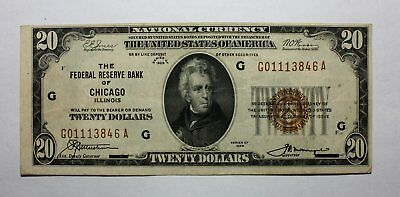 1929 $20 Twenty Dollar Federal Bank of Chicago Note Bill * National Currency