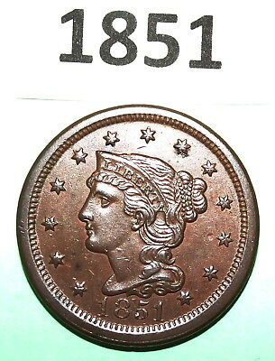 1951 Braided HAIR Large Cent COPPER COIN CHOCOLATE BROWN UNCIRCULATED CONDITION