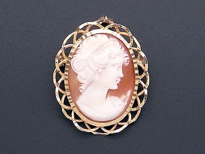 14k Yellow Gold Carved Shell Cameo Woman Portrait Pendant Brooch Pin
