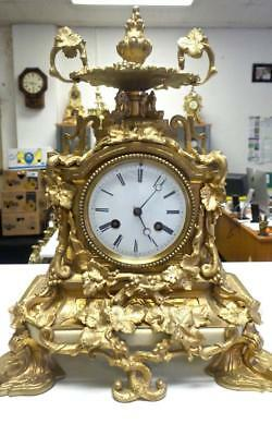 Stunning Antique French 1855 Vincenti Gilt Bronze & White Marble Mantle Clock