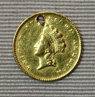 1855 $1 One Dollar Princess Head Gold Coin * Type 2 * Ex Jewelry Piece