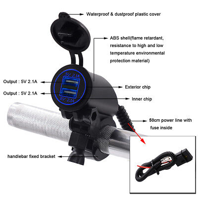 Waterproof Motorcycle Charger Power Adapter Socket With Dual USB Port 5V 21A SH