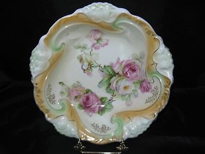 "Large 11"" Colorful Antique Bowl, Molded Flowers, Big Cabbage Roses, Germany"