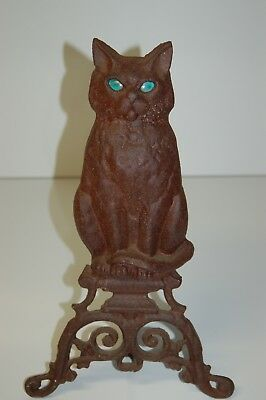 "Vintage 16"" Cast Iron Cat Andiron with Glass Eyes"
