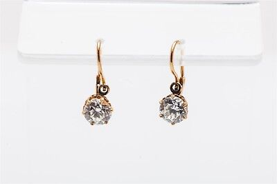 Antique 1920 2ct Natural Old Euro White Sapphire 14k Yellow Gold DANGLE Earrings