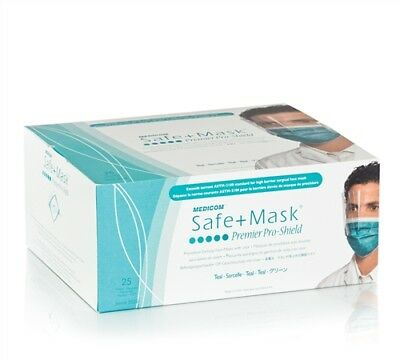 Medicom 2025 Safe-Mask ProShield Face Mask with Visor Teal 25/Bx
