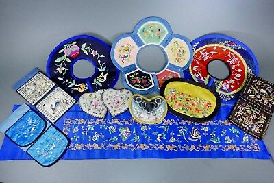 Fine Old Chinese Lot Miscellaneous Textile Scholar Work Of Art