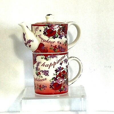Paul Cardew Pink Chintz Red Hat Society Tea For One Teapot & Mug 2004