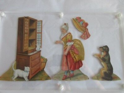 antique,victorian trade card,lion coffee,COMPLETE SET,OLD MOTHER HUBBARD,