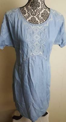 3c5065f3d867 Anthropologie XS Holding Horses White Sands Embroidered Tunic Dress Chambray